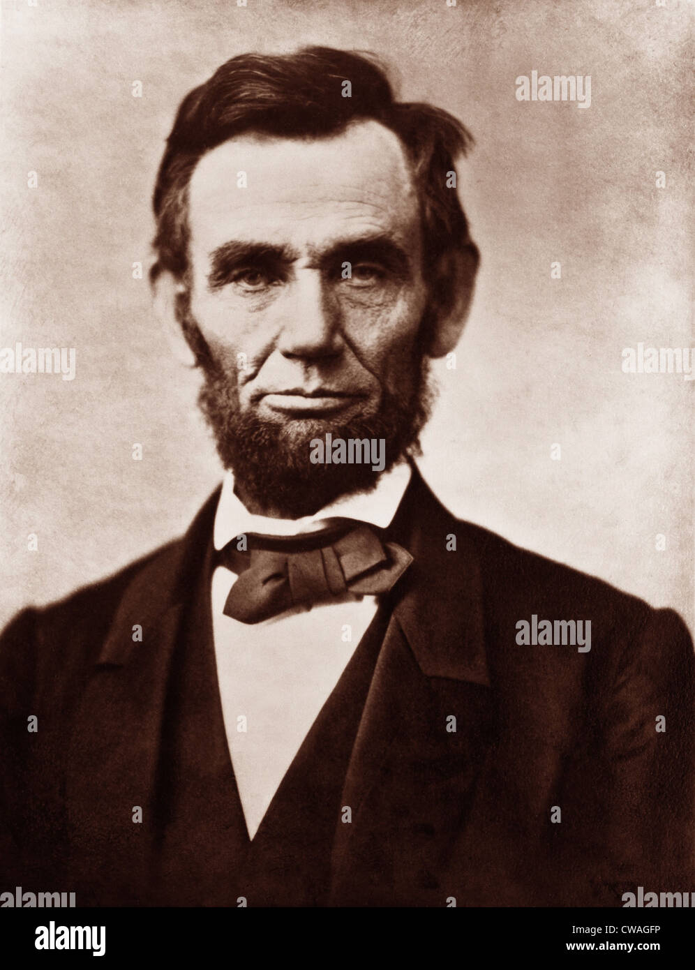 Abraham Lincoln (1809-1856) in the classic 1863 portrait photograph by Alexander Gardner. - Stock Image
