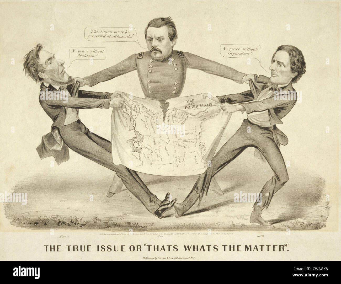 Cartoon about the 1864 US presidential election, favoring the Peace campaign of Democrat George McClellan, in the - Stock Image