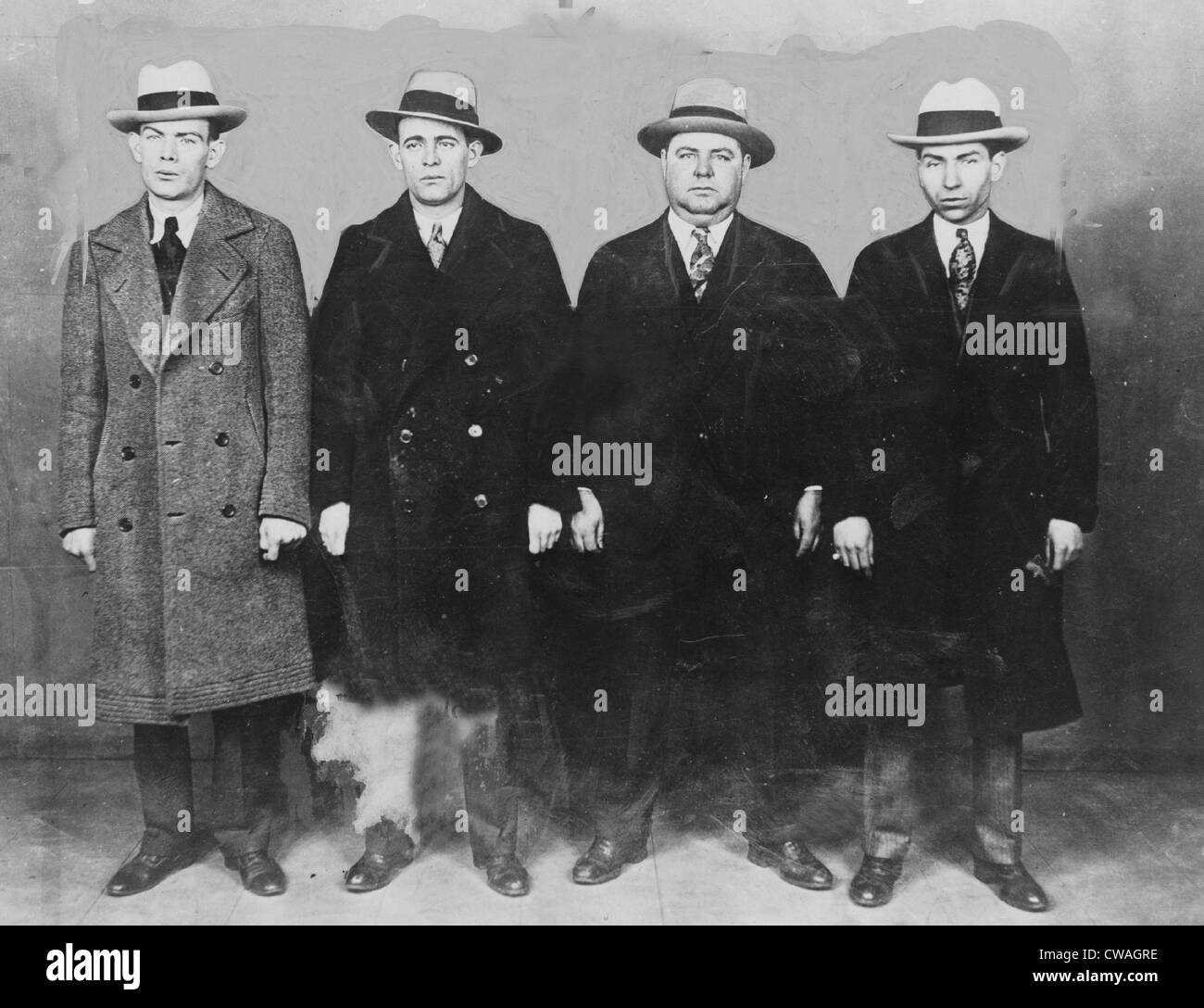 "Group of mobsters in the 1920s. Left to right: Ed Diamond, Jack ""Legs"" Diamond, Fatty Walsh, and Charles ""Lucky"" Stock Photo"