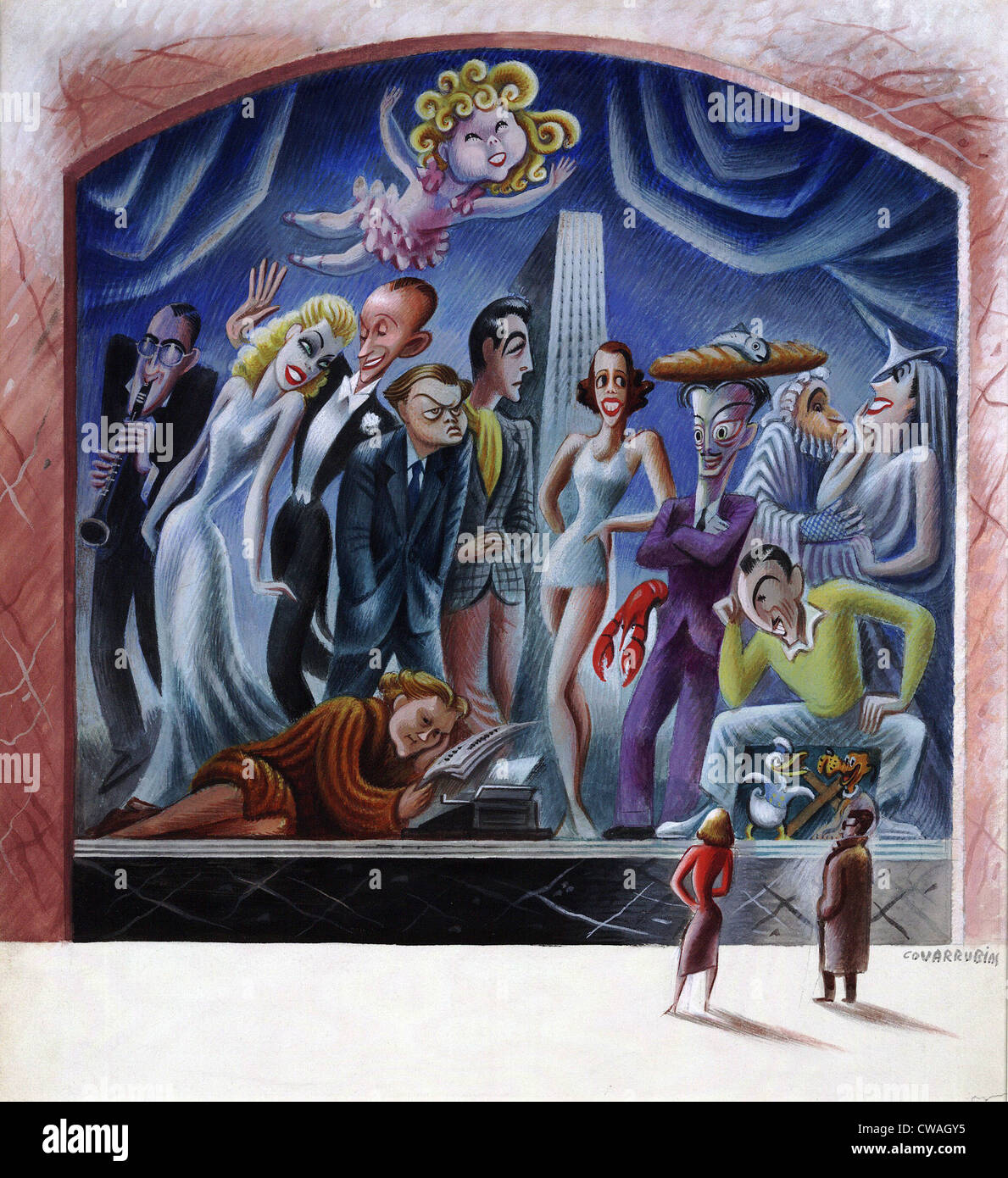 Miguel Covarrubias caricatures of most popular 1938 celebrities: Benny Goodman, Fred Astaire, Ginger Rogers, Orson - Stock Image