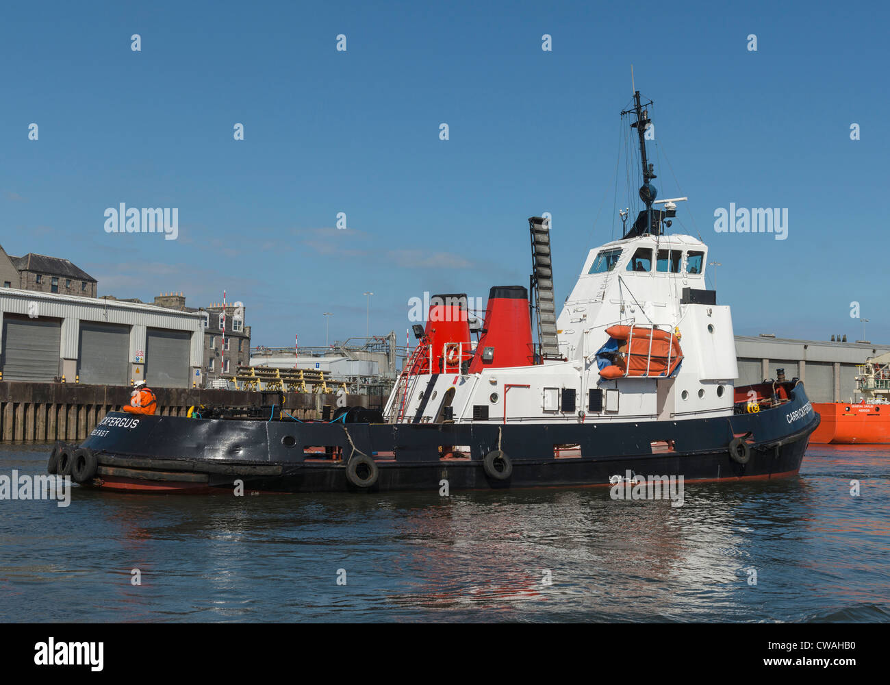 Tug Boat in Aberdeen Harbour - Stock Image