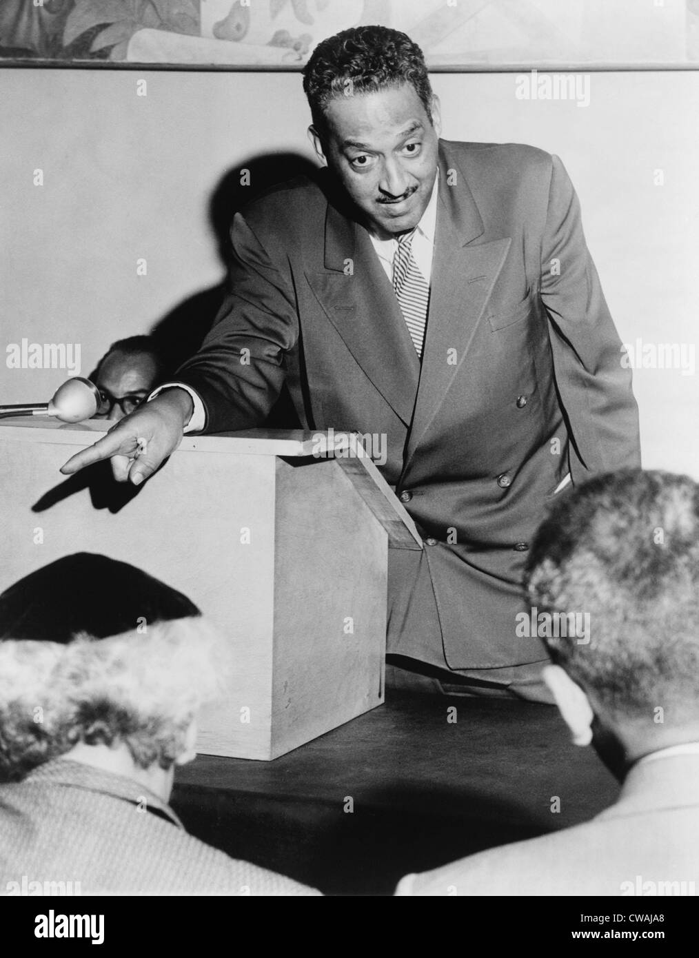 Thurgood Marshall (1908-1993), Chief Counsel for the National Assn. for the Advancement of Colored People, talking - Stock Image