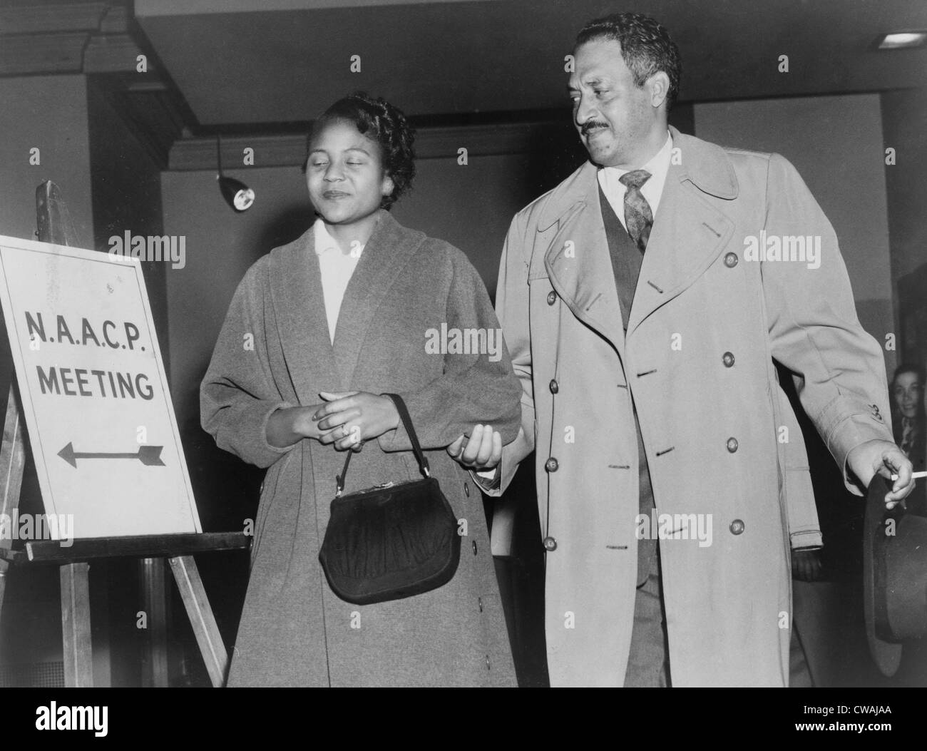 Thurgood Marshall, the Chief Counsel for the NAACP with Rosa Parks in 1956. Parks joined the Montgomery, Alabama - Stock Image