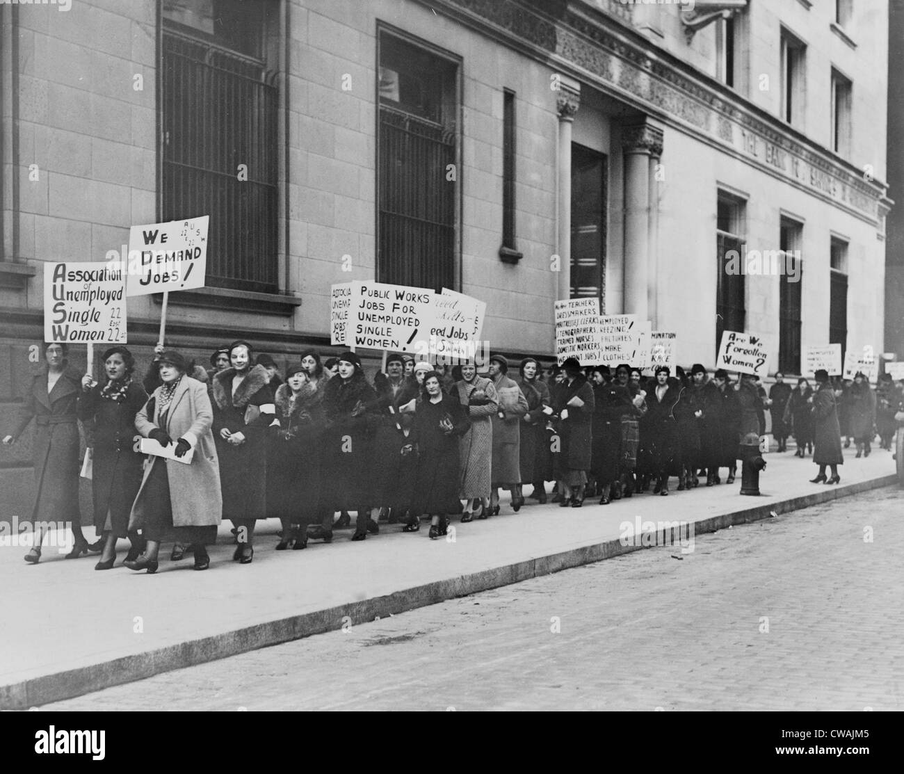 Unemployed single women in New York demonstrate for public works jobs.  Some placards read 'Forgotten women,' - Stock Image