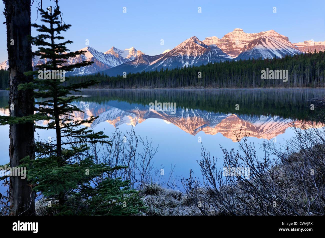 Herbert Lake and Bow Range, Banff National Park, Alberta, Canada - Stock Image