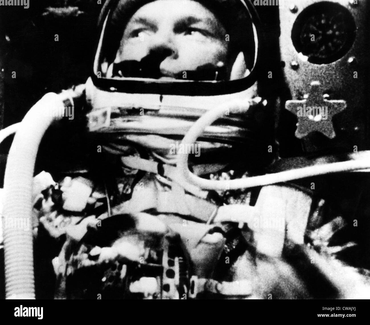 Astronaut John Glenn in his space capsule, February 20, 1962. Courtesy: CSU Archives/Everett Collection - Stock Image