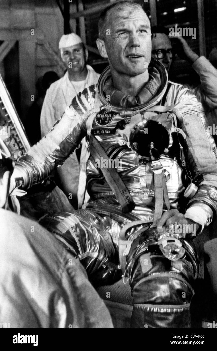 Astronaut John Glenn after another postponement of his sheduled orbit of the earth. January 27, 1962. Courtesy: - Stock Image