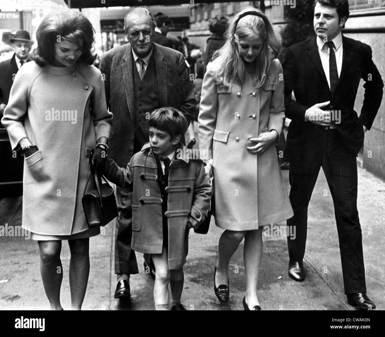 Jacqueline Kennedy, Randolph Churchill, John F. Kennedy Jr., Annabella Churchill, Andrew Carr, in NYC. Courtesy: - Stock Image