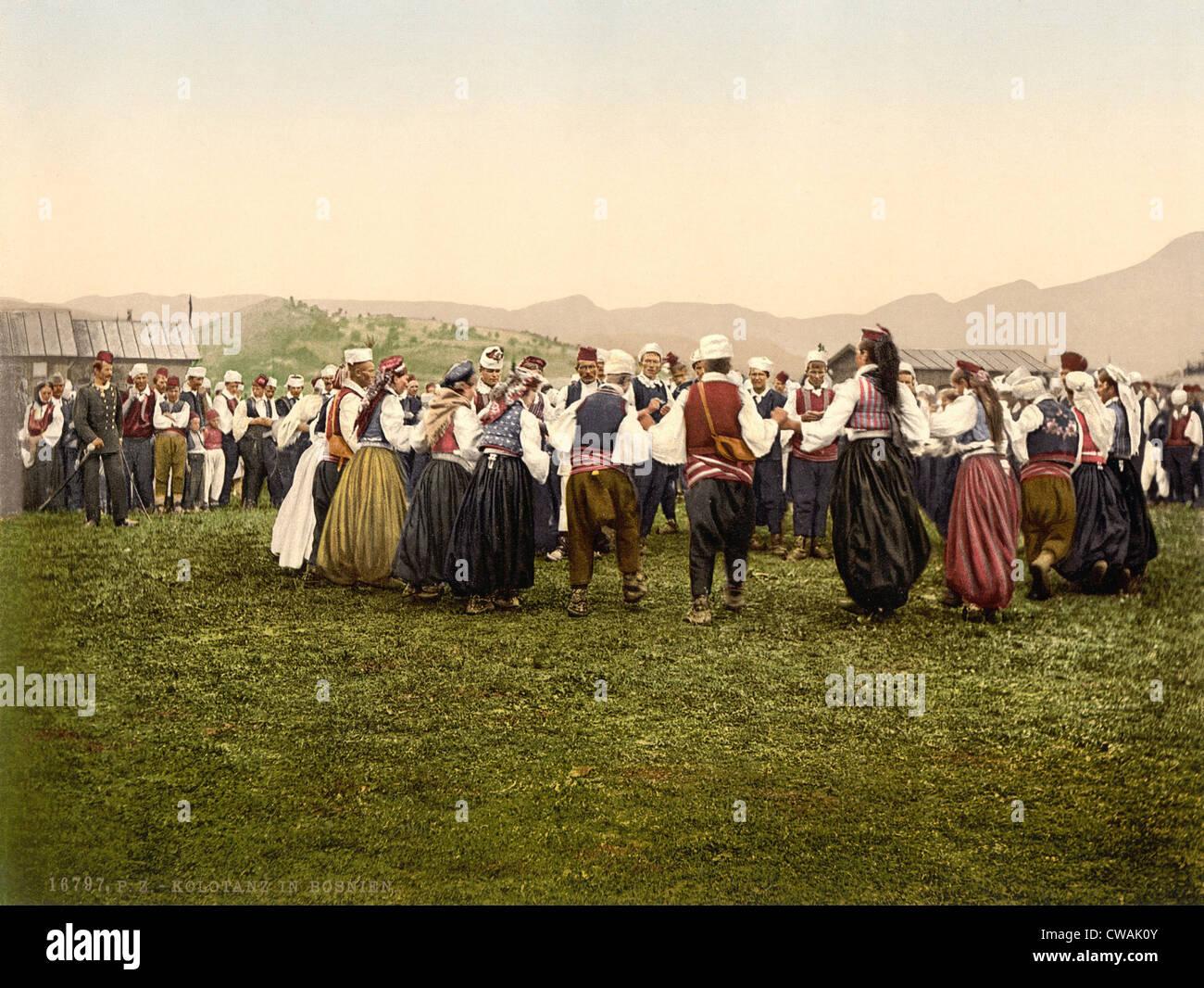 Peasants dancing, Bosnia, Austro-Hungary, ca. 1895 - Stock Image