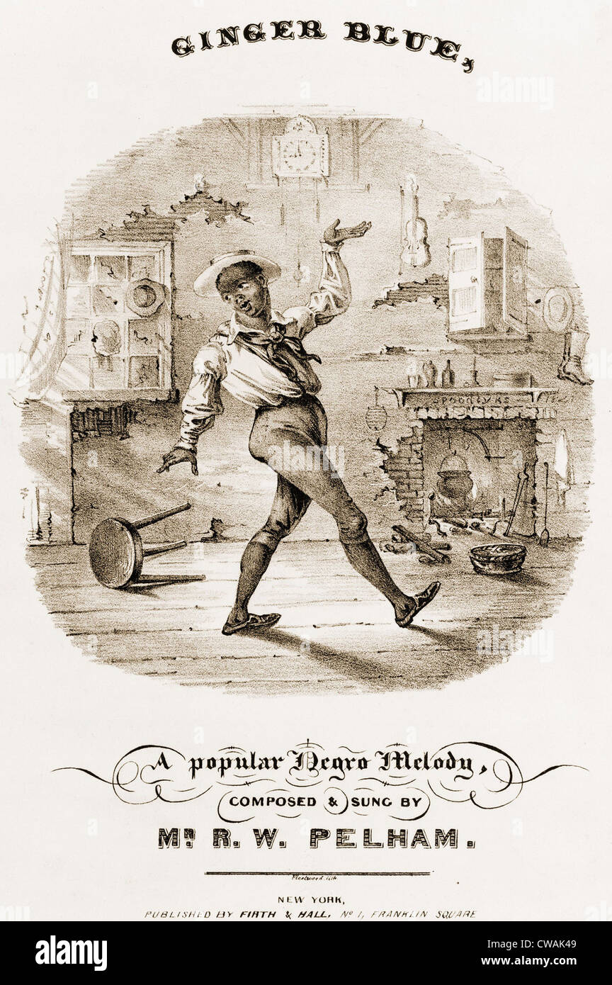Sheet music cover showing an African American dancing in dilapidated room, with kettle in fireplace. Antebellum - Stock Image