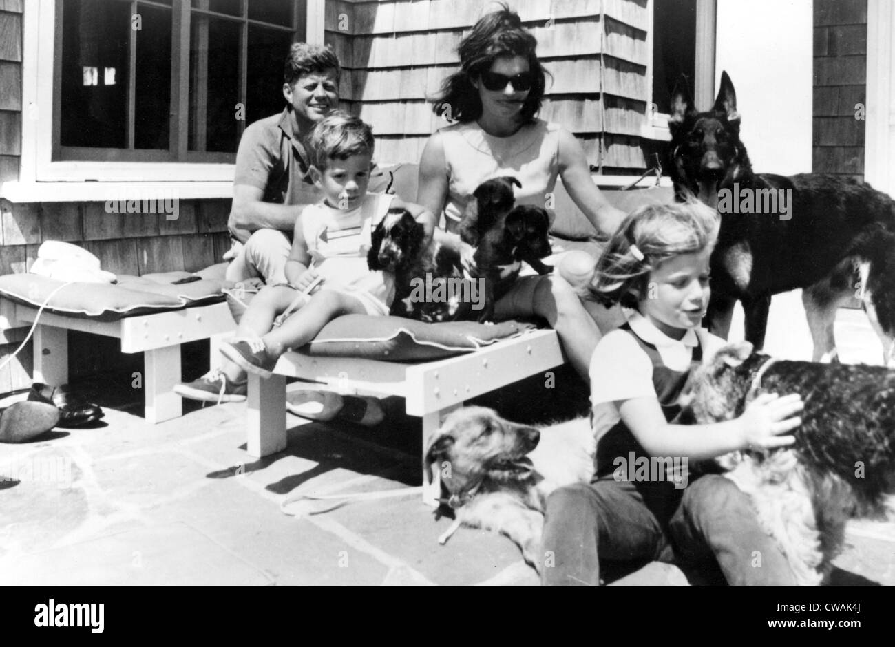 John F. Kennedy, John F. Kennedy, Jr., Jacqueline Kennedy, Caroline Kennedy, early 1960s.. Courtesy: CSU Archives - Stock Image