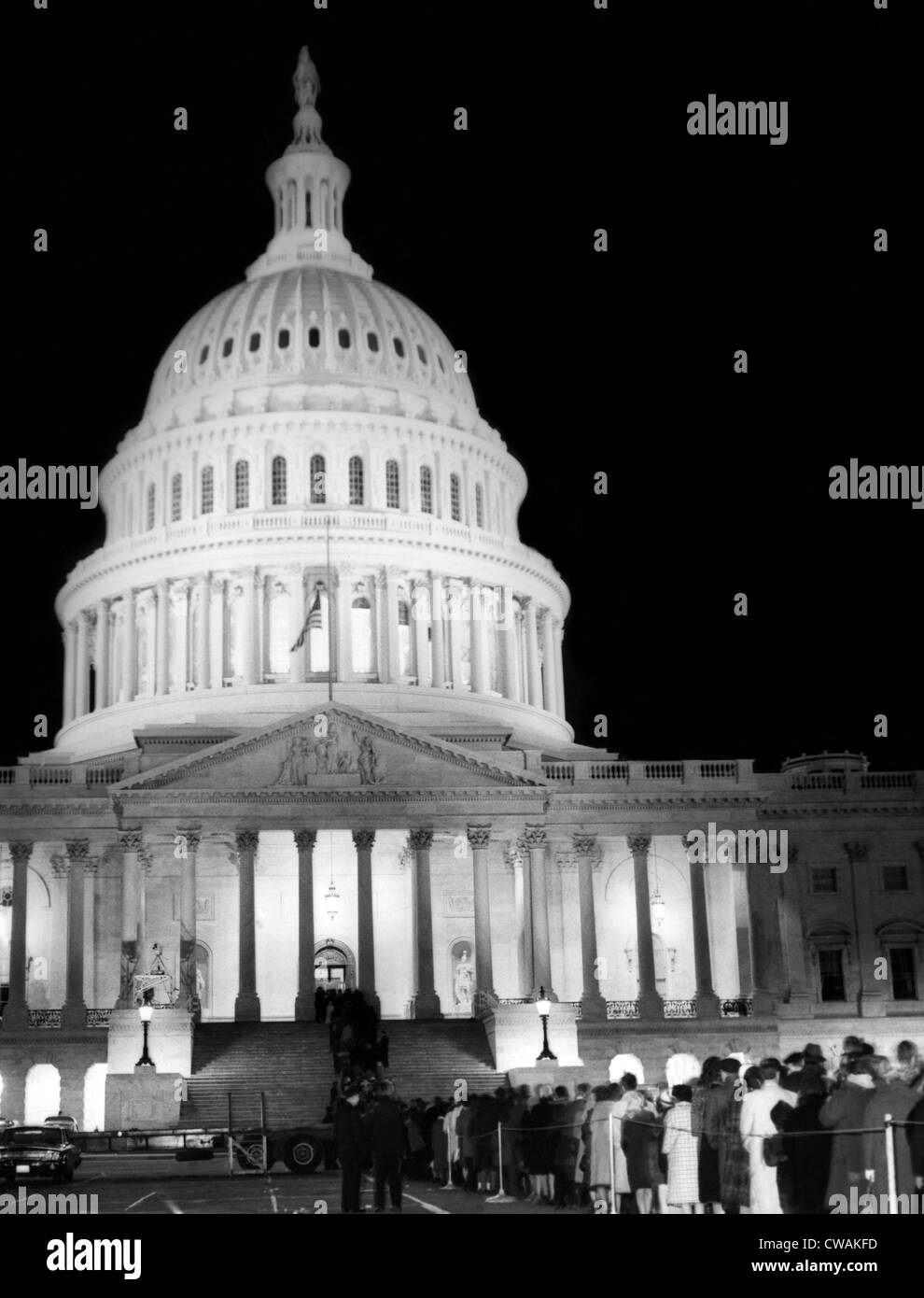 The dome of the U.S. Capitol is illuminated to pay respects to the assassinated President, John F. Kennedy, Washington - Stock Image