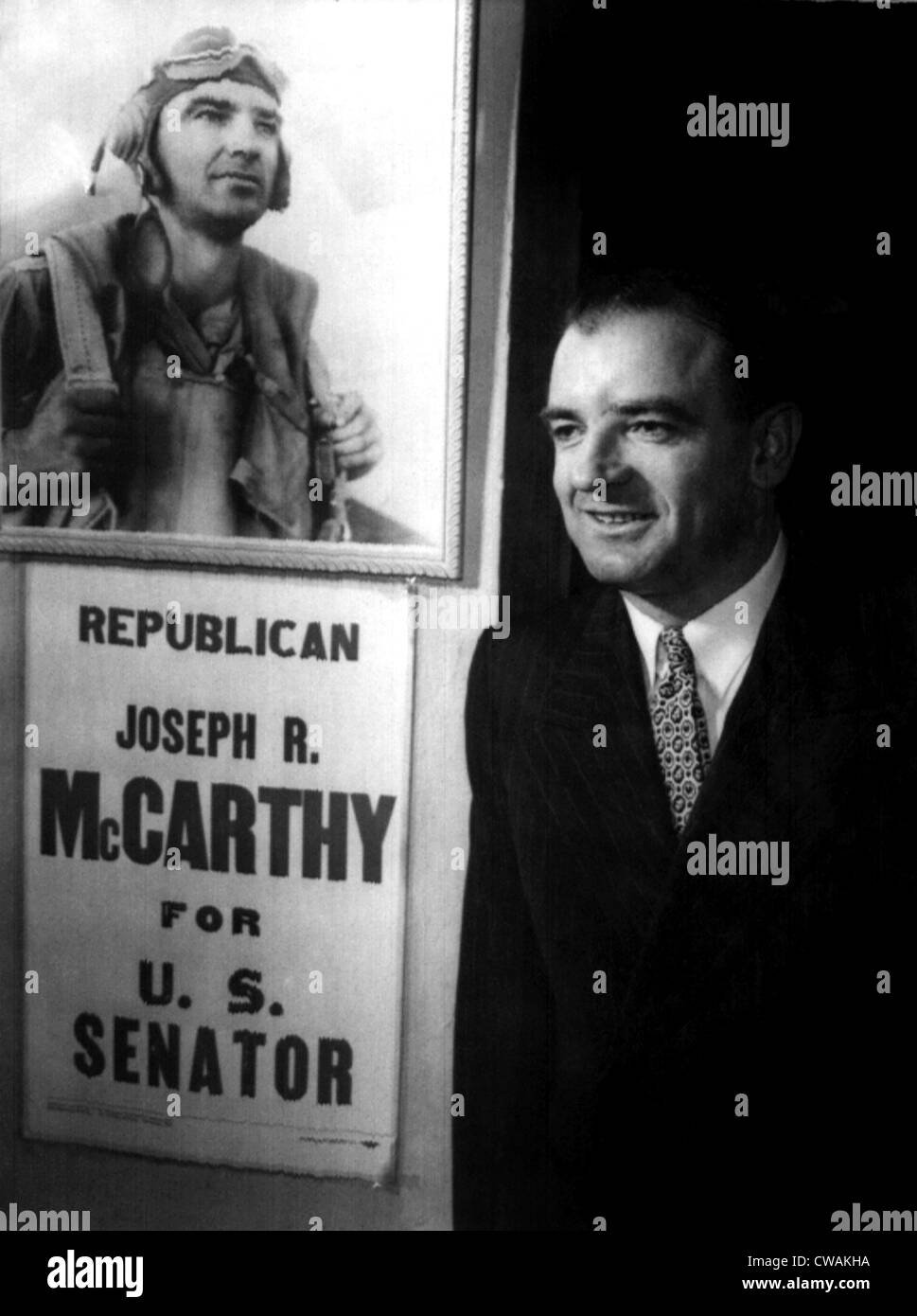 Joseph McCarthy after he defeated incumbent Senator Robert LaFollette Jr. in the Wisconsin Republican primary election, - Stock Image