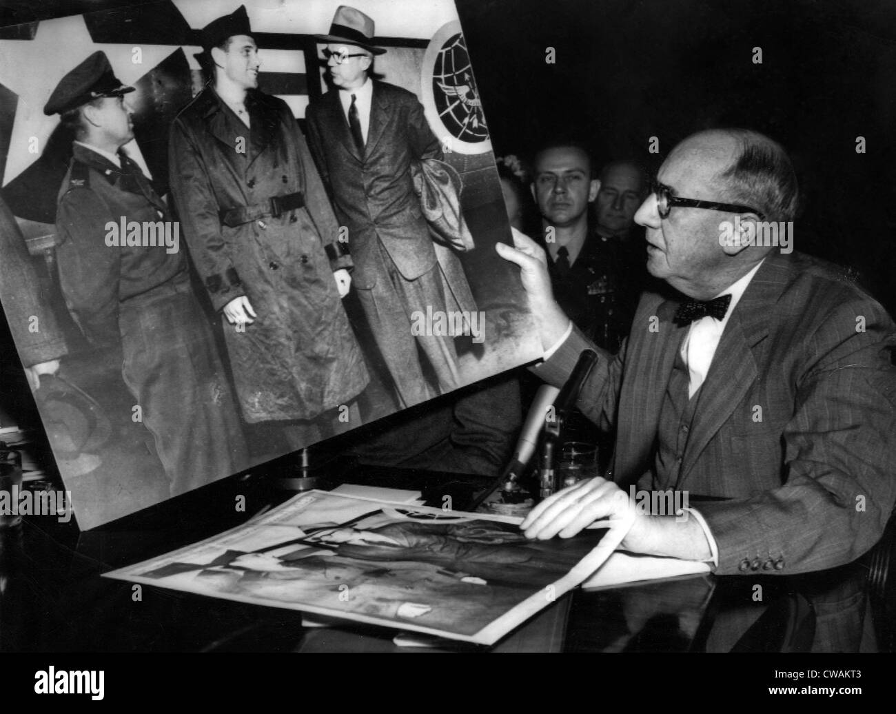 Joseph Welch examines doctored photo during McCarthy Hearings, April 27, 1954.. Courtesy: CSU Archives / Everett - Stock Image