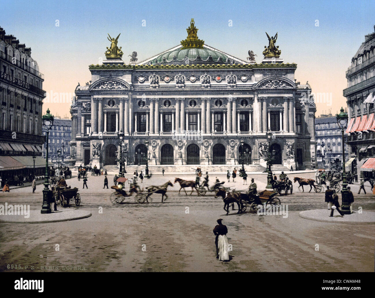 The Opera House, Paris, France in the last decade of the 19th century.  Designed by Charles Garnier, it housed the - Stock Image