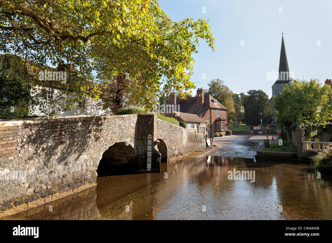 Eynsford ford humped backed pretty bride over river Darent - Stock Image