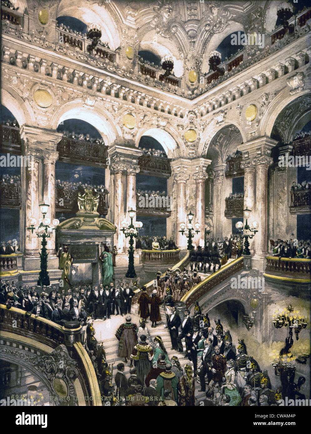 The grand staircase of the Paris Opera House as the notables enter with an honor guard its inauguration in 1875. - Stock Image