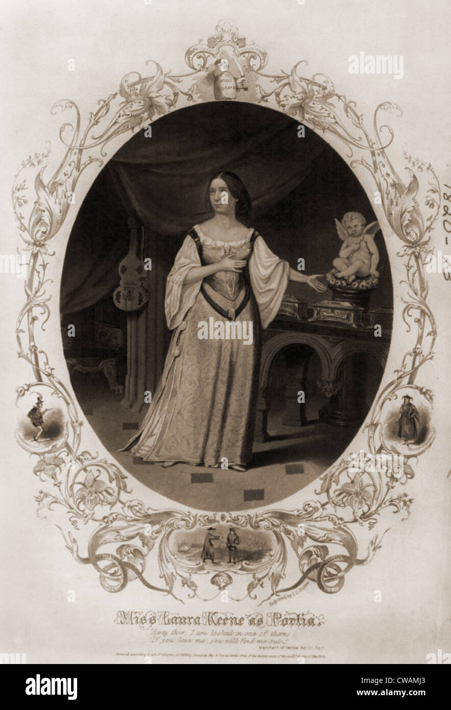 Laura Keene (1820-1873), English born actress, as Portia from Shakespeare's MERCHANT OF VENICE. After 1855 she - Stock Image