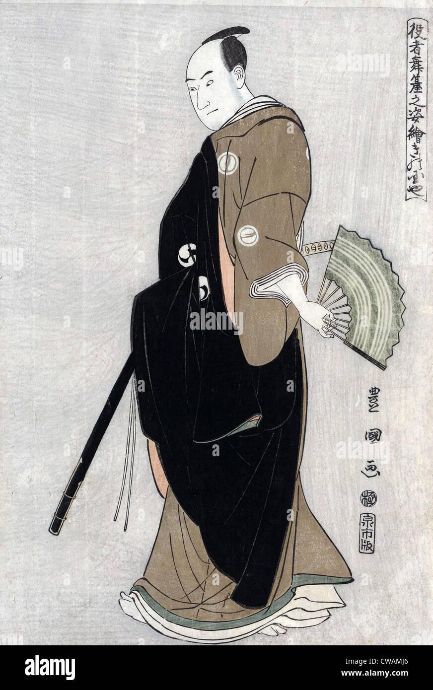 Japanese woodcut by Toyokuni Utagawa (1769-1825) of actor Sawamura Sanj-ro III holding a fan, in the role of Oboshi - Stock Image