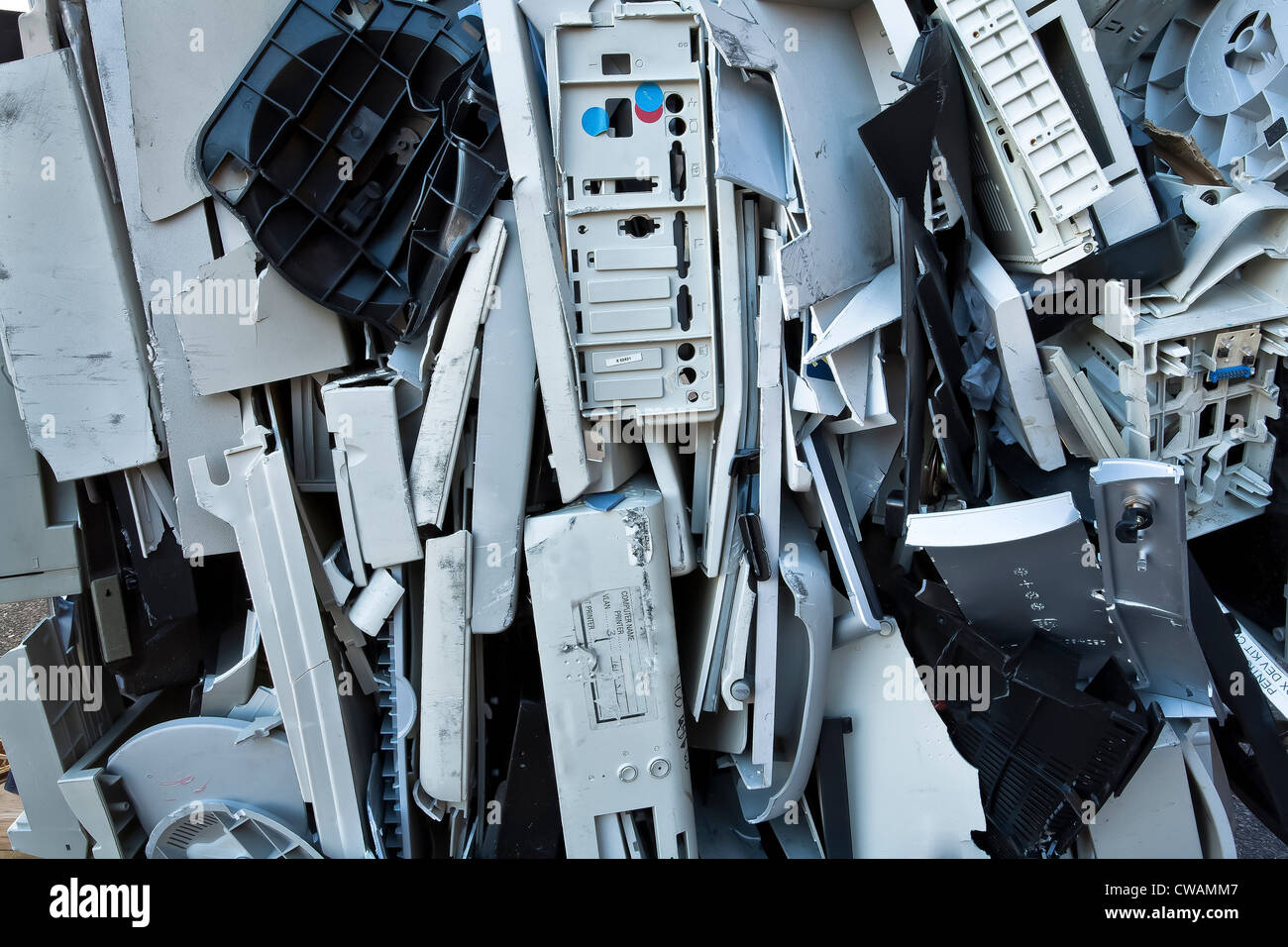Crushed computer parts - Stock Image