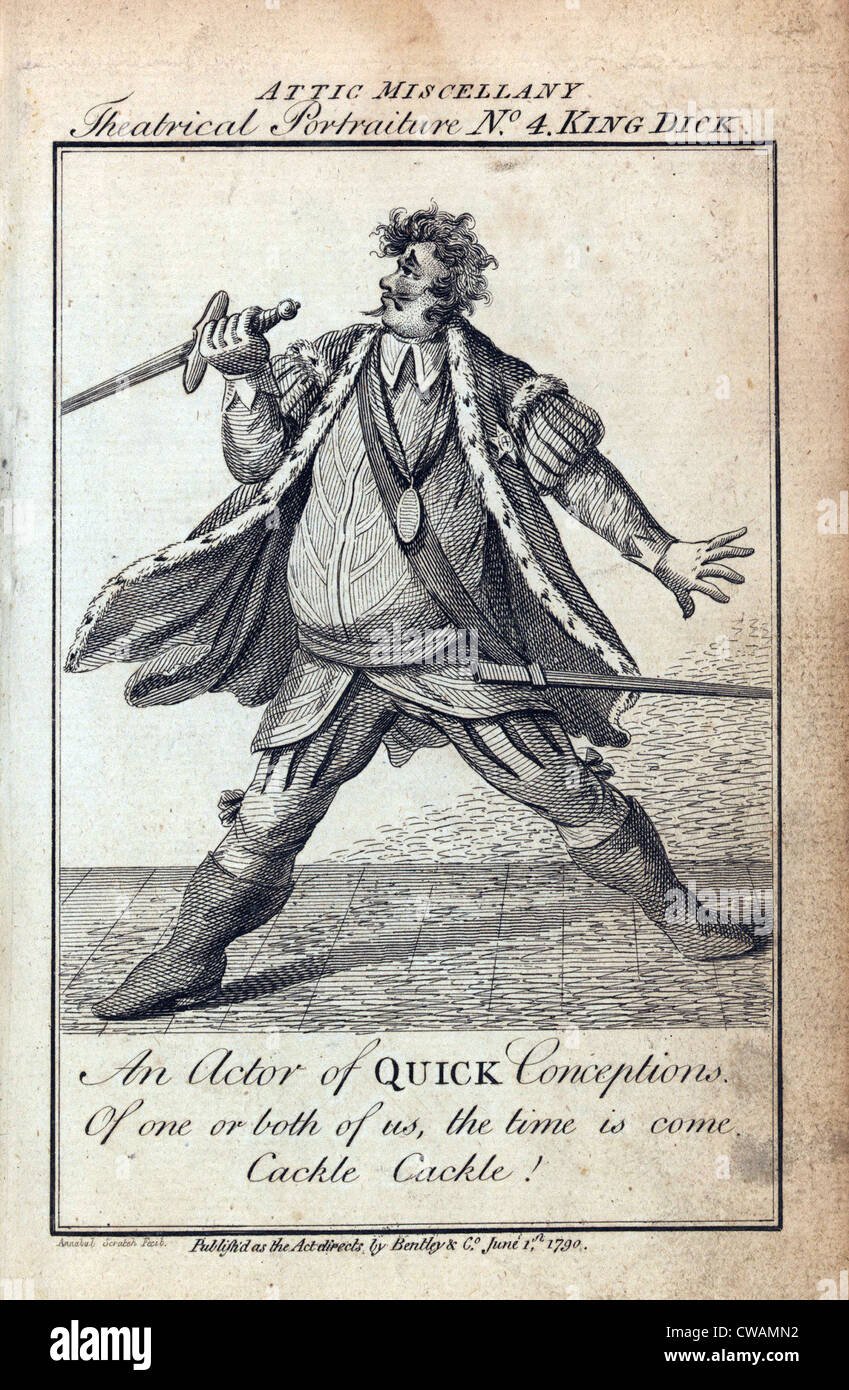 Humorous caricature of an actor portraying Richard III in Shakespeare's HENRY VI. The caption reads,  An actor - Stock Image