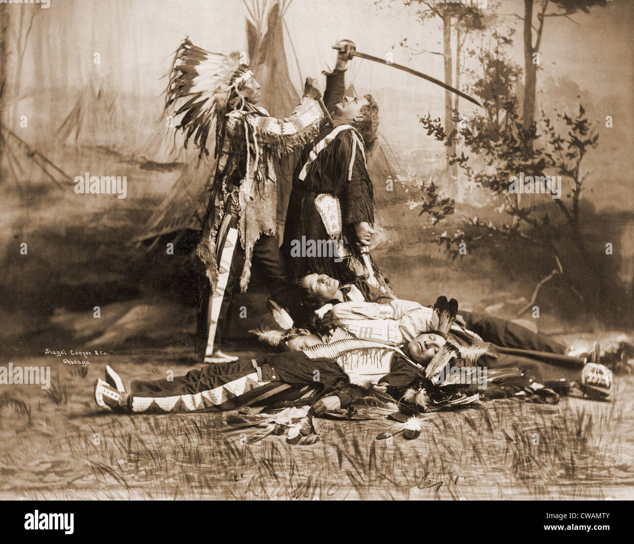 Pawnee Bill's Wild West Show featured a dramatic portrayal of the death of Custer, showing an Indian stabbing - Stock Image