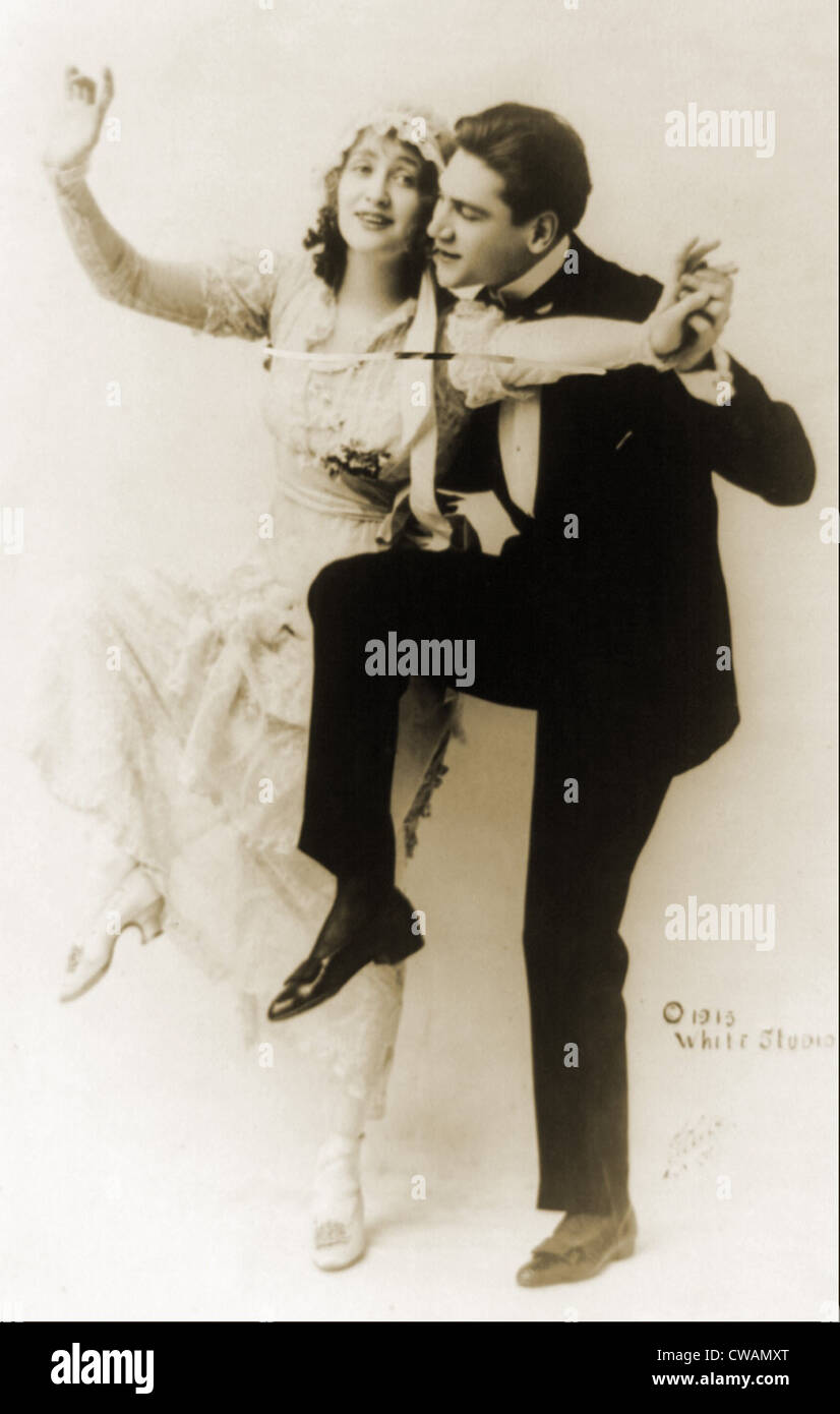 Gaby Deslys (1881-1920), French dancer and actress, dancing with tuxedoed man in 1913.  King Manuel II of Portugal - Stock Image