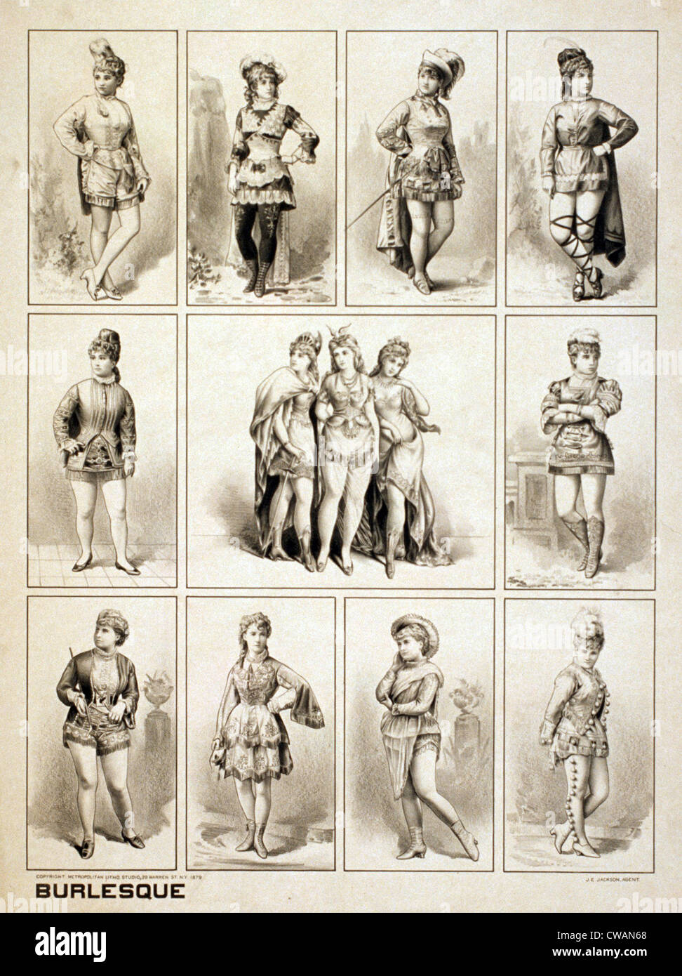 Early burlesque women performers wear revealing tights while playing men's roles making fun of (or burlesquing) - Stock Image