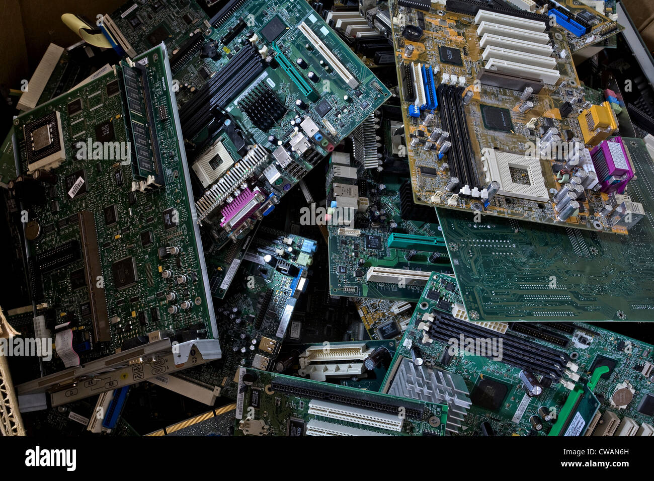 Old Circuit Boards Stock Photos Images Scrap Board Recycling Machine Computer Pile Of