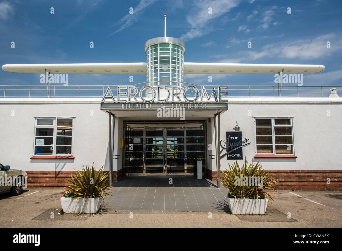 Art Deco style. Sywell Aerodrome Reception and Restaurant building. - Stock Image