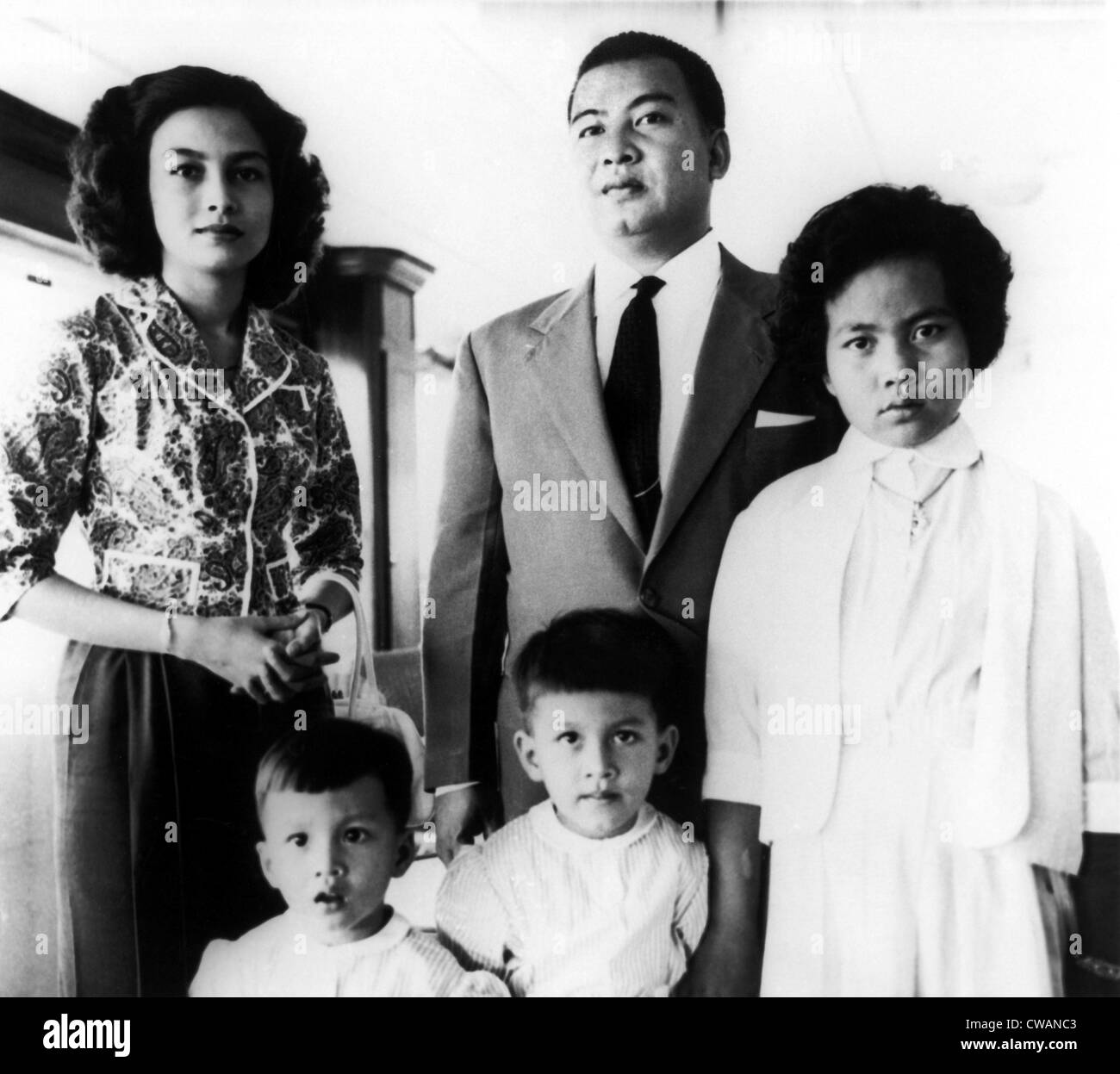 Prince Norodom Sihanoult of Cambodia with wife and children,. Courtesy: CSU Archives / Everett Collection - Stock Image