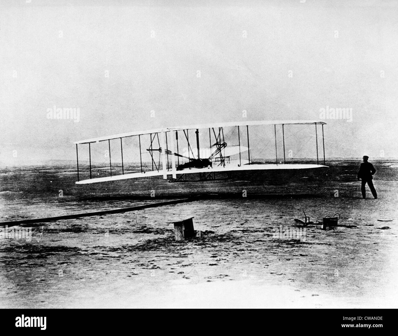 Orville and Wilbur Wright, (aka The Wright Brothers), around the time of their first flight, at Kitty Hawk, North - Stock Image