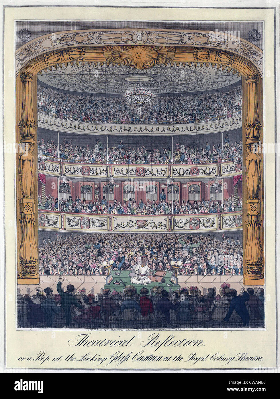 The Royal Coburg Theatre and audience in 1822.  The Theater was renamed 'Royal Victoria' in 1833, but was - Stock Image