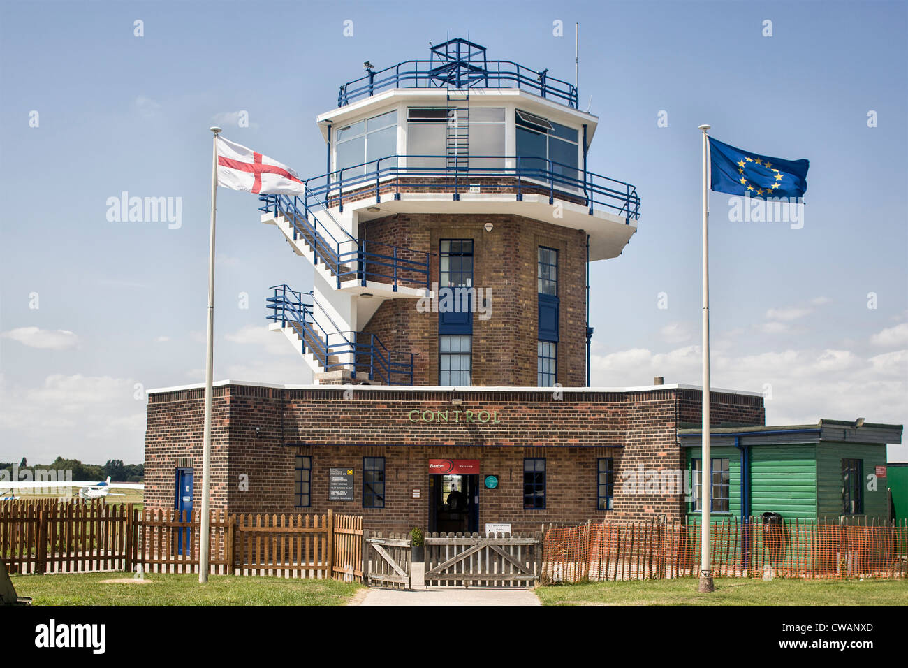 Control tower, Barton airfield - Stock Image
