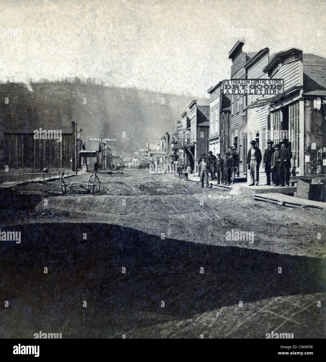 Main Street of the oil town, Petroleum Centre, Pennsylvania. The town was quickly built during the oil boom, and - Stock Image