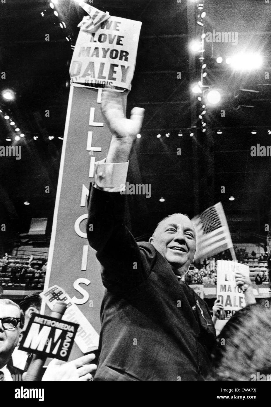 Richard J. Daley waves to supporters, National Democratic Convention, Chicago, IL, 08-29-1968.. Courtesy: CSU Archives - Stock Image