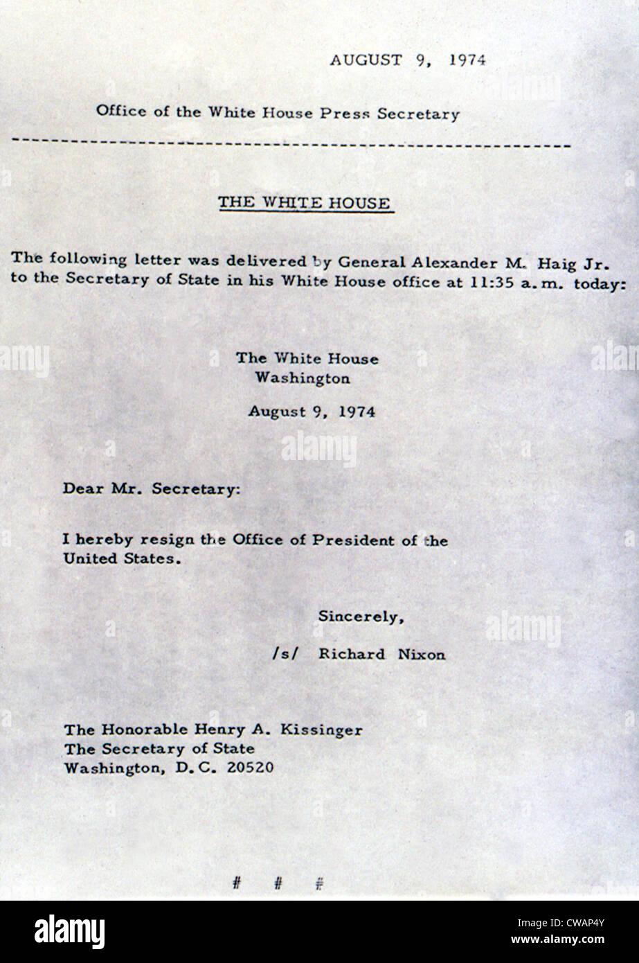 Richard Nixons Letter Of Resignation As President Of The United