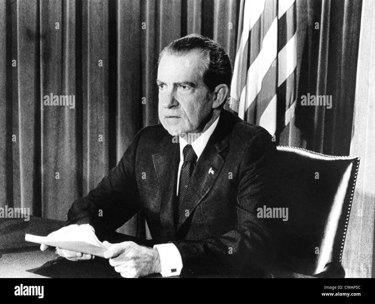 President Richard Nixon announcing his resignation, 08/08/74. Courtesy: CSU Archives / Everett Collection - Stock Image