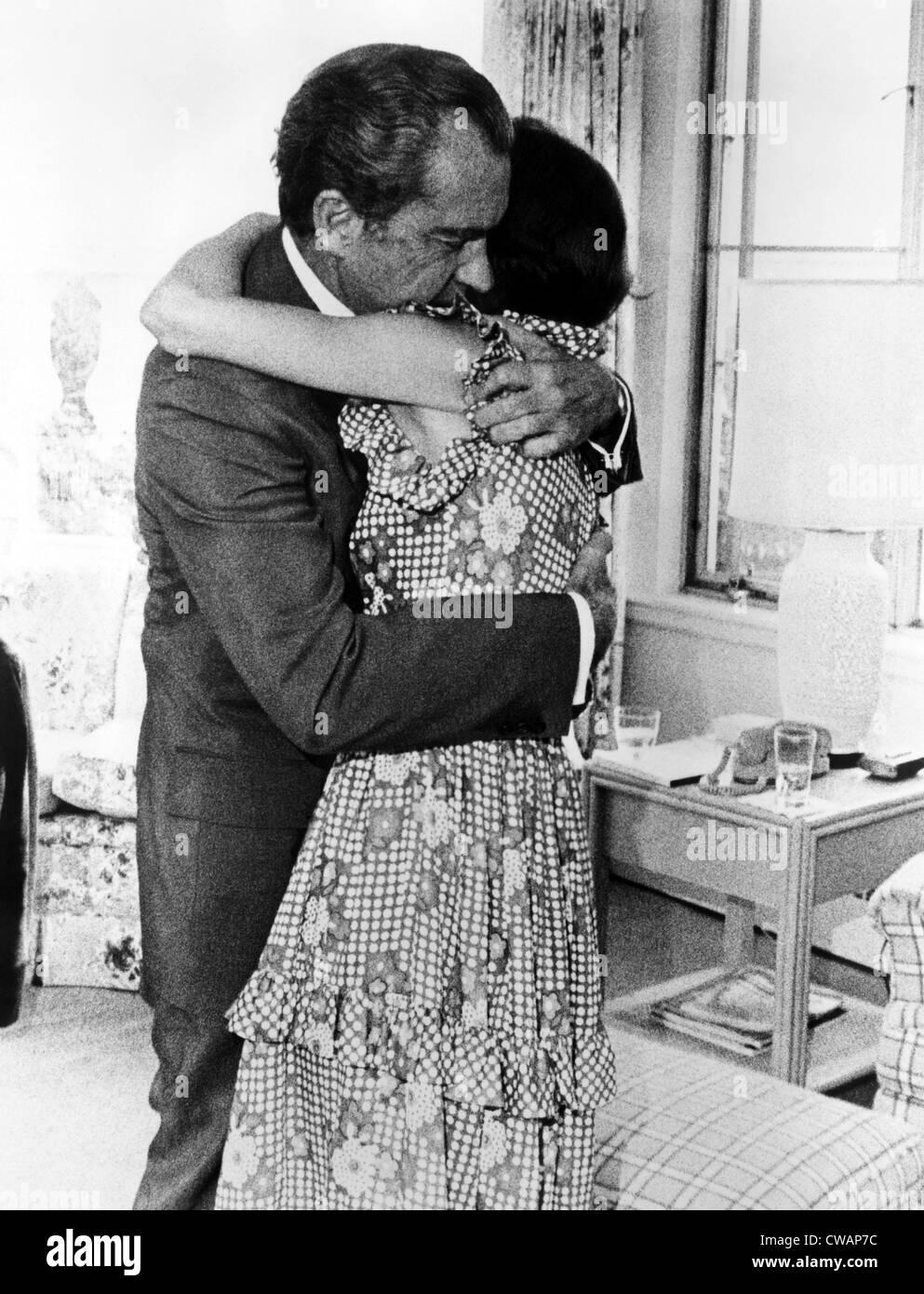U.S. President Richard Nixon hugging his daughter Julie Nixon Eisenhower after informing her that he must resign, - Stock Image