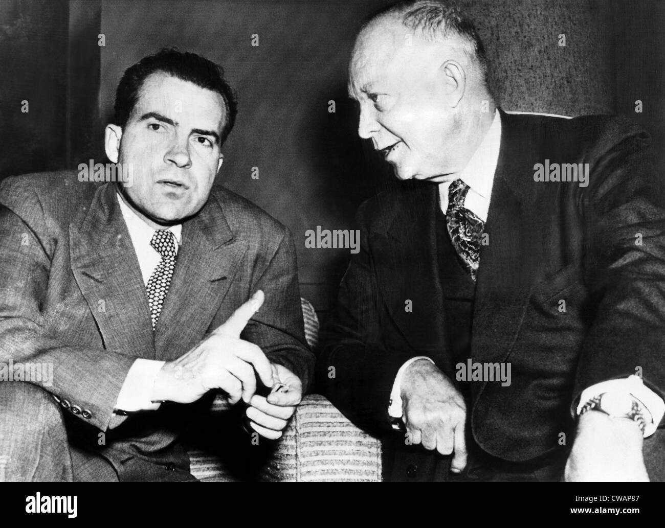 Future U.S. President Richard Nixon (then running for Vice President), and future President Dwight D. Eisenhower, - Stock Image