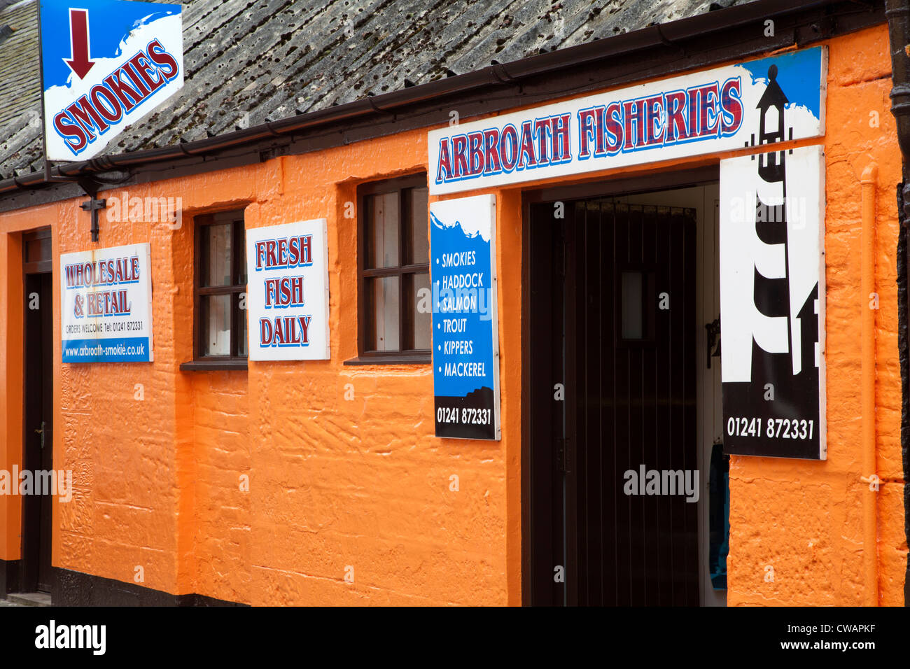 Fish Merchant and Smokehouse in Arbroath Angus Scotland - Stock Image
