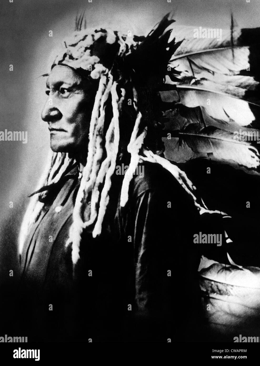 Native American Sioux chief Sitting Bull, (c. 1831-1890), best known for his victory at Battle of Little Big Horn, - Stock Image