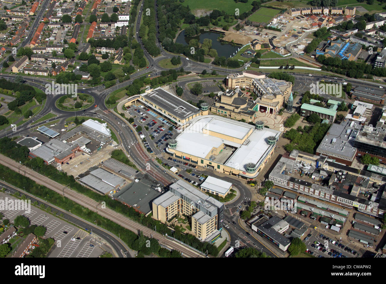 aerial view of Westgate Park shopping centre, Roundacre, Basildon, Essex - Stock Image
