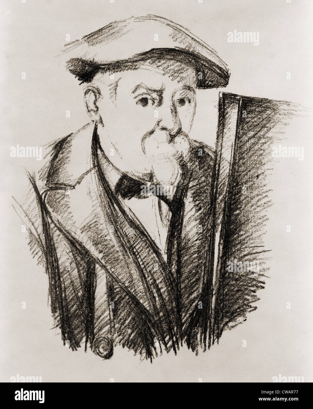 Paul Cezanne (1839-1906), French Post Impressionist painter, in a self portrait at his easel. Ca. 1900. - Stock Image