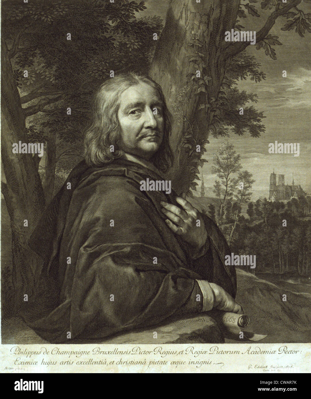 Philippe de Champaigne (1602-1674), French 17th century Baroque painter, based on his self-portrait of 1668.  Engraved - Stock Image