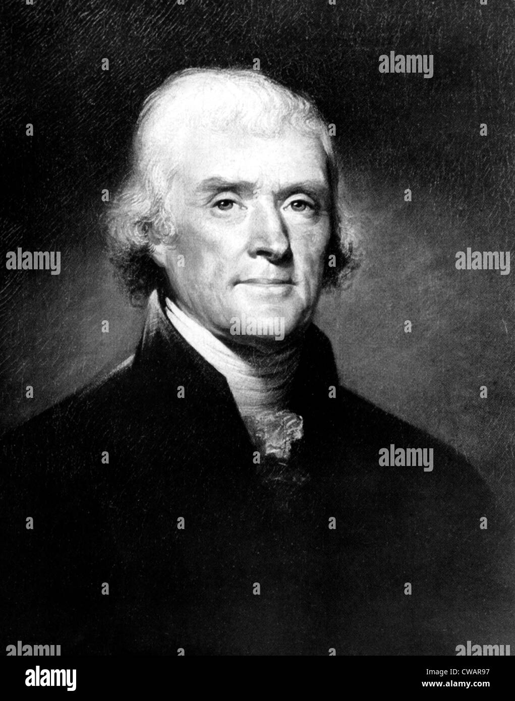 Portrait of Thomas Jefferson, by Rembrandt Peale, ca. 1810s. Courtesy: CSU Archives/Everett Collection. - Stock Image