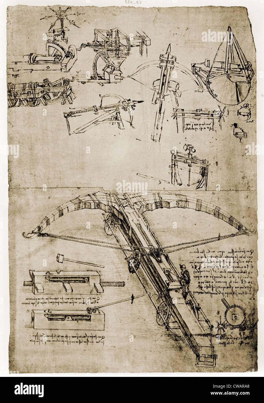 Page from the notebooks of Leonardo da Vinci (1452-1519) showing giant  crossbow. Ca. 1500.