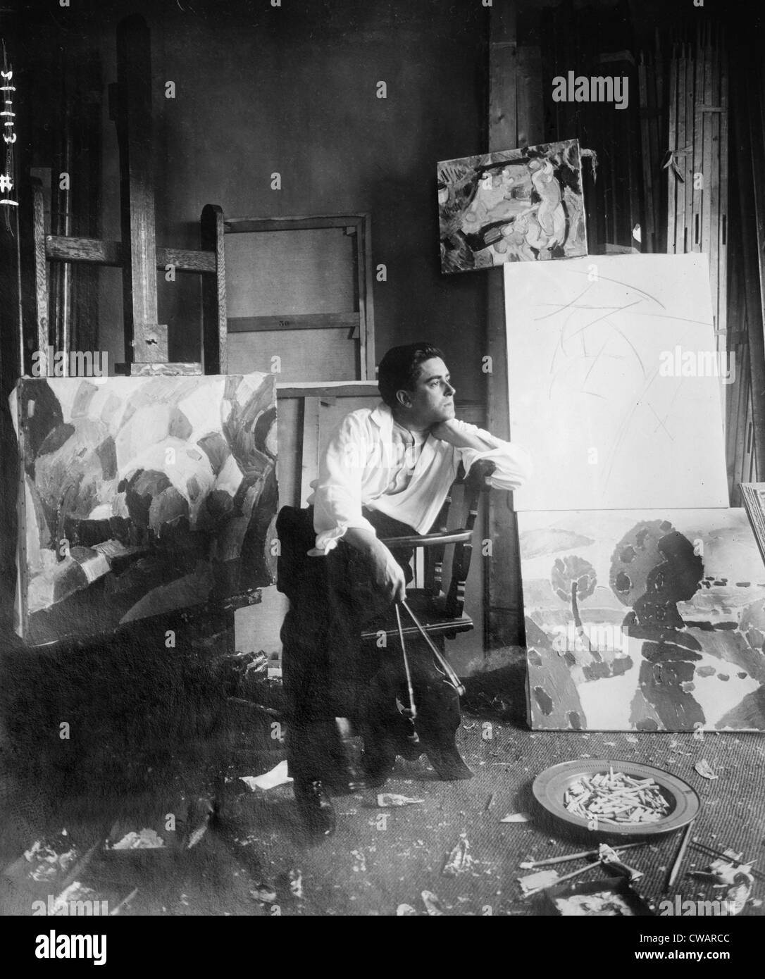Francis Picabia (1879-1953), French painter associated with the Cubist and Surrealist styles in his studio in New - Stock Image