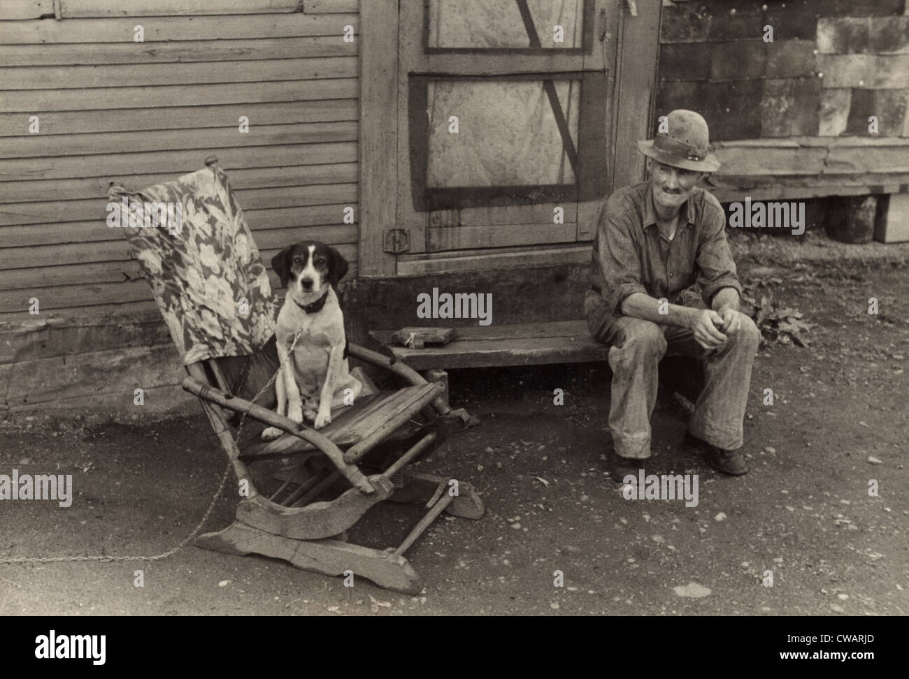 During the Great Depression foreclosed farmers moved to nearby towns Hoovervilles.  Photo shows former farmer William - Stock Image