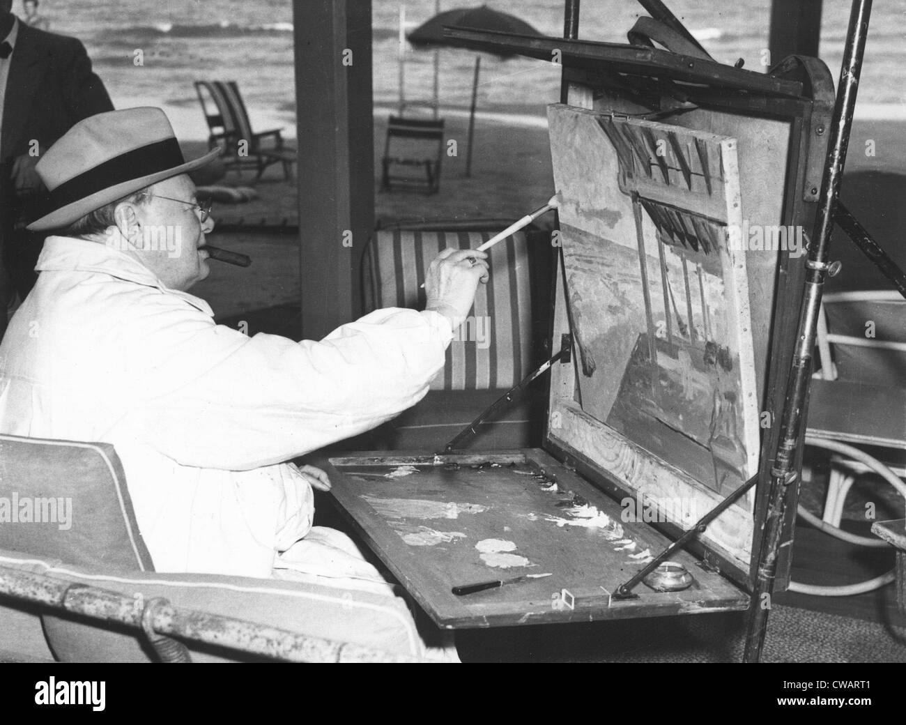 Winston Churchill, 1956. Courtesy: CSU Archives / Everett Collection - Stock Image